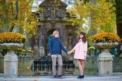 Junge romantische Paare in Paris stockbilder
