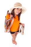 Junge schöne asiatische Frau in der Sommerkleidung Stockbilder