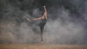 Junge schöne Ballerina auf modernem Ballett des Rauchstadiumstanzens in der Dunkelheit Frau im schwarzen Kostüm führt an der Szen stock footage