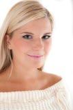 Junge schöne blonde Winterfrau Lizenzfreies Stockbild