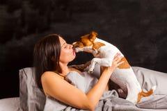 Frau Und Hund Und Bett Stockbilder Bild 11340694