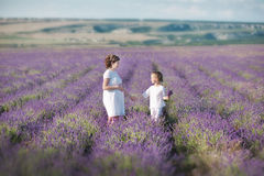 Junge schöne Damenmutter mit der reizenden Tochter, die auf das Lavendelfeld an einem Wochenendentag in den wunderbaren Kleidern  Lizenzfreies Stockfoto