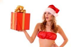 Junge schöne Frau in der reizvollen Klage des neuen Jahres lizenzfreie stockfotos