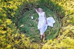 Junge schöne Frau, die auf dem grünen Gebiet träumt stockfotos