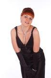 Junge schöne Frau in einem Kleid für Cocktails Stockbilder