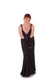 Junge schöne Frau in einem Kleid für Cocktails Lizenzfreies Stockbild