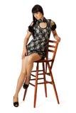 Junge schöne Frau im Cocktailkleid Lizenzfreies Stockbild
