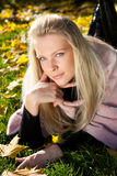 Junge schöne Frau im Herbstpark Stockfotos