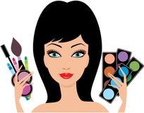 Junge schöne Frau mit dekorativen Kosmetik innen Stockbild