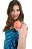 Junge schöne Frau mit Frucht im Studio Stockfoto