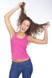Junge schöne Frauenausdrücke? lizenzfreies stockbild