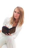 Junge schöne Geschäftsfrau, die Pläne, isolat bildet Stockfoto