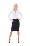 Junge schöne Geschäftsfrauaufstellung lokalisiert auf Weiß Stockbild