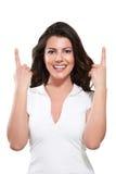 Junge schöne glückliche ausdrucksvolle Frau Stockfoto