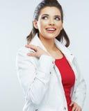 Junge schöne glückliche Frau lokalisiertes Porträt Lizenzfreie Stockfotos