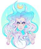 Junge schöne Hexe Mystischer Charakter Alchimie, Religion, spir vektor abbildung