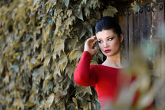 Junge schöne japanische Frau mit rotem Kleid Lizenzfreie Stockbilder
