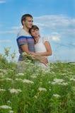 Junge schöne Paare, die auf dem Gebiet umfassen Lizenzfreie Stockfotos