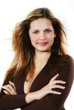 Junge schöne reizvolle Frau auf dem Weiß Stockfotografie