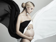 Junge schöne schwangere Frau Stockfoto