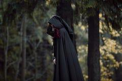 Junge schöne und mysteriöse Frau im Holz, im schwarzen Mantel mit Haube, im Bild der Waldelfe oder in der Hexe stockfotografie