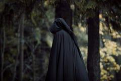 Junge schöne und mysteriöse Frau im Holz, im schwarzen Mantel mit Haube, im Bild der Waldelfe oder in der Hexe lizenzfreie stockfotos