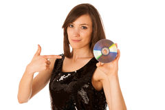 Junge Schönheit DJ mit CD in ihrer Hand Lizenzfreie Stockfotos