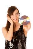 Junge Schönheit DJ mit CD in ihrer Hand Lizenzfreies Stockfoto