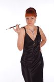 Junge Schönheit in einem Kleid für Cocktails Lizenzfreies Stockfoto