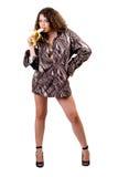 Junge Schönheitsfrau im Hemd eines Mannes Stockfoto