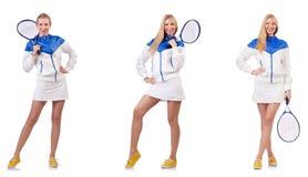 Junge sch?ne Dame, die das Tennis lokalisiert auf Wei? spielt lizenzfreies stockbild