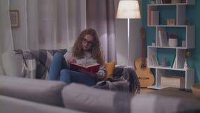 Junge Sch?nheit liest ein Papierbuch in ihrem gem?tlichen Wohnzimmer am Abend stock video footage