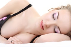 Junge schlafende Frau stockfotos