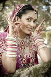 Junge schöne indische hindische Braut, die unter Baum mit den gemalten Händen angehoben steht Lizenzfreie Stockbilder