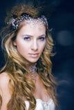 Junge Schneekönigin der Schönheit in den feenhaften Blitzen Stockbild