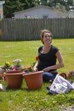 Junge-schwangerer Gärtner Stockbilder
