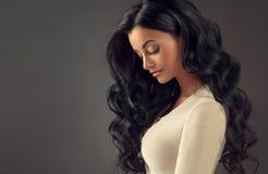 Junge schwarze behaarte Frau mit dem umfangreichen, glänzenden und gewellten Haar Stockfotografie