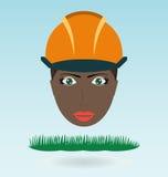 Junge schwarze Frau im Sturzhelm lizenzfreie abbildung