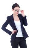 Junge sexy attraktive Geschäftsfrauaufstellung lokalisiert auf Weiß Stockbild