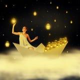Junge Frau goddes im nächtlichen Himmel Stockfotos