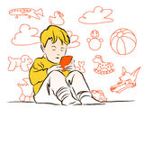 Junge spielt mit Cellphone, Kids Doodles in Background Stock Photo
