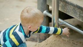 Junge spielt mit pädagogischer sich entwickelnder Ausrüstung und Sand auf dem Spielplatz stock footage