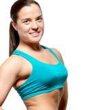 Junge sportliche Frau zeigt ihre gesunde Zahl an Stockfotos