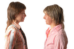 Junge sprechenfrau zwei Stockfotografie