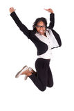 Junge springende AfroamerikanerGeschäftsfrau, Erfolgskonzept Lizenzfreie Stockfotos