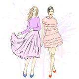 Junge stilvolle Mädchen Moderne Art skizze Auch im corel abgehobenen Betrag Lizenzfreie Stockfotos