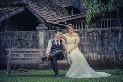 Junge stilvolle Modepaare Asiens, die auf Natur aufwerfen Lizenzfreies Stockbild