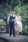 Junge stilvolle Modepaare Asiens, die auf Natur aufwerfen Stockfotos