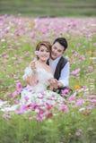 Junge stilvolle Modepaare Asiens, die auf Natur aufwerfen Stockbilder
