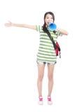 Junge Studentin, die mit Ihnen kreischt und spricht Lizenzfreie Stockfotografie